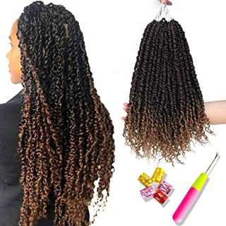 6 PCS Pre-twisted Passion Twist Hair Ombre Crochet Braids PreTwisted Passion Twist Crochet Hair Curly Black To Honey Blonde Pre Looped Bohemian Braiding Hair Synthetic Hair Extensions(18inch,T1B/27#)