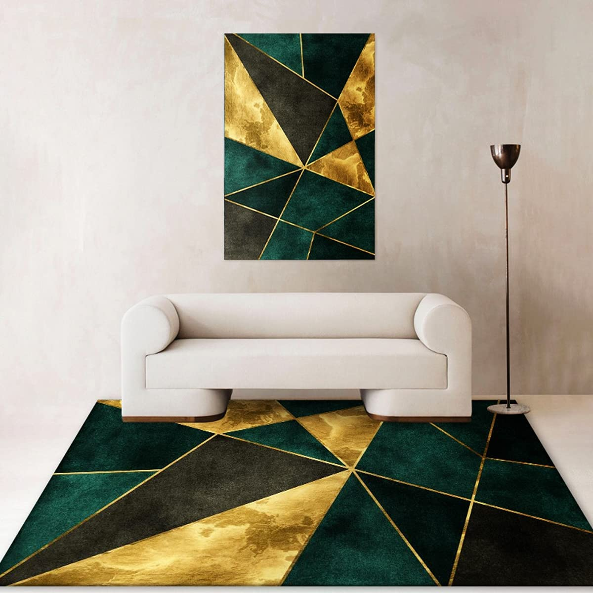 Green Gold Geometric Boxes Triangles Beveled Pattern Area Rug for Livingroom Bedroom Modern Abstract Carpets Kitchen Diningroom Contemporary Thick Rugs Indoor Entway Runner Rugs Floor Mat 5x7ft B