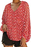 AlvaQ Womens Casual Floral Printed Blouses Fall V Neck Long Balloon Sleeve Shirt Loose Tunic Tops Plus Size Red 2X