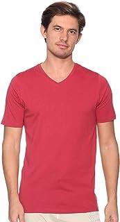 Splash Short Sleeves V-Neck Cotton T-Shirt for Men