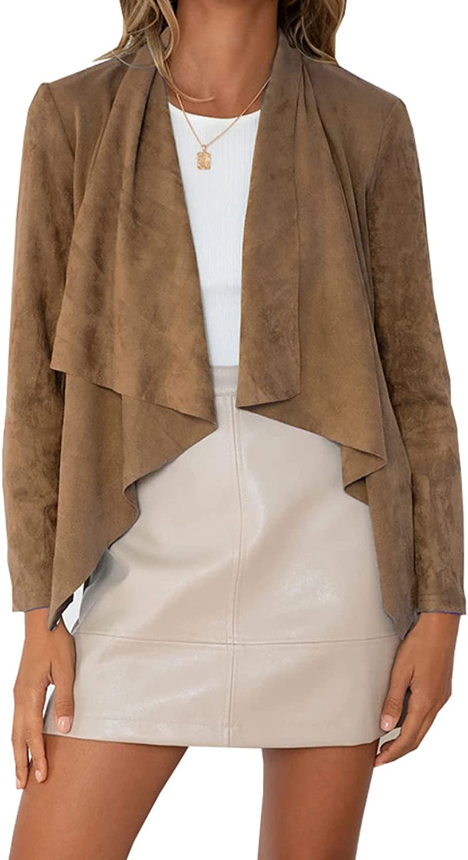 Max 72% OFF Women's Faux Outlet SALE Suede Ruffle Jacket Velvet Casual Vintage Imitation