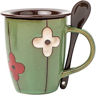 Verdental Coffee Mugs Ceramic Tea Cup with Spoon and Lid Novelty Mug Sets Retro Drum Shaped Office Mug Water Cup (Green)