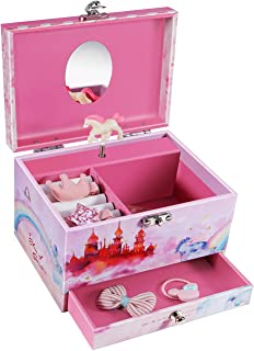 Abody Jewelry Box, Music Box with Pullout Drawer and Ring Slots, Castle in The Sky Tune, Mechanical Twirling Horse Design, 7 Year Old Girl Gifts Include Bonus Kids Jewelry