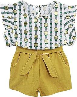 TUEMOS Conjunto de 3 Piezas de Ropa para niña con diseño Floral + pantalón Corto con Sombrero para el Sol, B-Amarillo, 5T / 6T