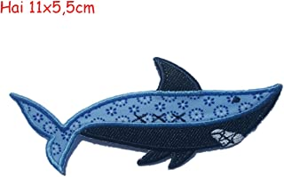 2 Iron on Patches Shark 11x5,5 and Indian Motiv 7x7cm - Embroidered Fabric Appliques Set by TrickyBoo Design Zurich