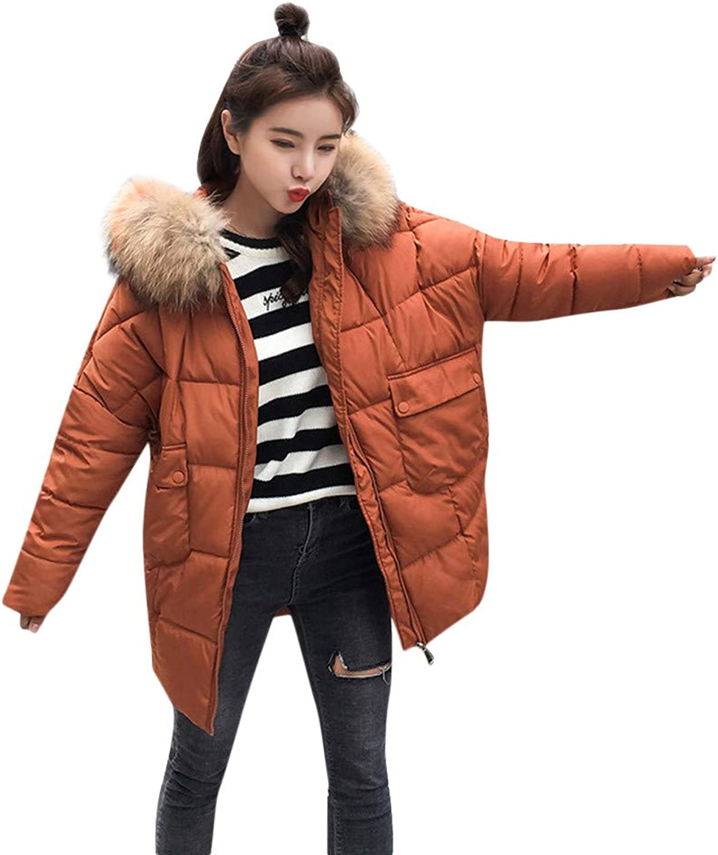 GridNN Ladies Fashion Long Long-Sleeved Hooded Fur Collar Down Jacket Cotton Jacket Coat