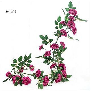 人工観葉植物 2つの造花布花つるの葉緑の葉バラつる95センチ/ 37.4インチアイビーのセット 観葉植物 (Color : B)