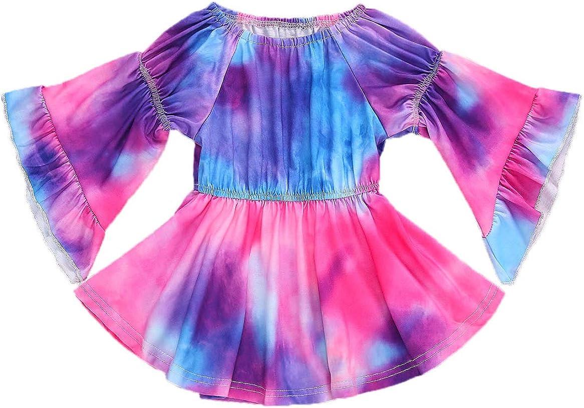 Gueuusu Toddler Baby Girl Max 78% OFF Dress Tie Dye Flar Off Ruffle Shoulder Ranking TOP10