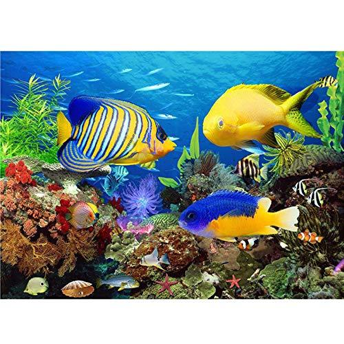 toopcc DIY Malen Nach Zahlen Fisch Unterwasserwelt Vorgedruckt Leinwand Ölgemälde Erwachsene Kinder Anfänger Geschenk Malen Nach Zahlen Kits Home Haus Dekor 40X50Cm Ohne Rahmen