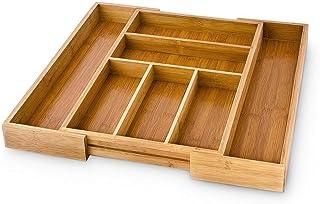 Relaxdays Bandeja para Cubiertos, bambú, marrón, 30-48 x 5 x 46 cm