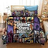 Grand Theft Auto Games funda nórdica 3D juego de ropa de cama para cama doble individual, ropa de cama suave cómoda y duradera, textiles para el hogar para adultos adolescentes-I_173x218cm (3 pcs)