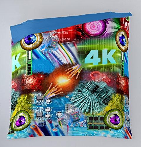 Es-Tela – Housse De Couette Imprimée Tech (1 pièce) – Lit de 105 cm partie imprimée 100% coton – Partie lisse 50% coton/50% polyester – 144 fils