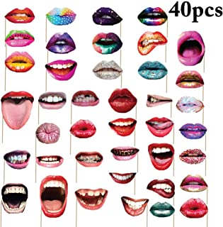 40x Lips Photo Booth Props Funny Mouth DIY Set for Birthday Graduation Anniversary Wedding Party Theme Favors Bachelorette Girls Night Selfie Dress Up Photography Accessories