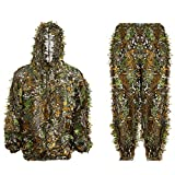 Ghillie Suit 3D Leafy Hooded Camouflage Clothing Outdoor Woodland Hunting Suit Sniper Costume Camo Outfit for Jungle Hunting, Military Game, Wildlife Photography, Paintball (Height 5.-6-5.9 ft)