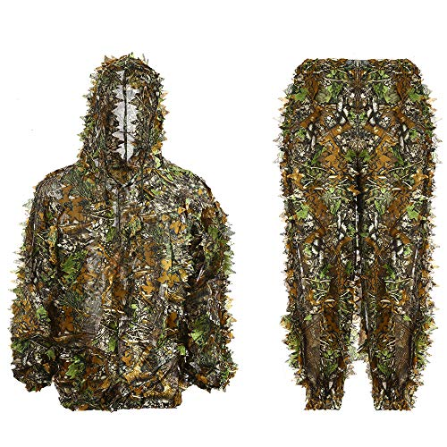 Ghillie Suit 3D Leafy Hooded Camouflage Clothing Outdoor Woodland Hunting Suit Sniper Costume Camo Outfit for Jungle Hunting, Military Game, Wildlife Photography, Halloween (Height 2.7-3.6 ft)