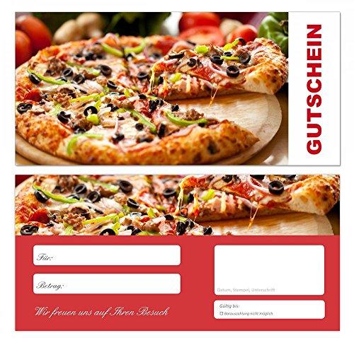 100 Stück Premium Geschenkgutscheine (Pizza-672) - Ein schönes Produkt für Ihre Kunden Gutscheine Gutscheinkarten für Bereiche wie Gastronomie, Pizzeria, Restaurant, Lieferdienst und vieles mehr