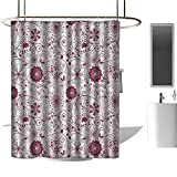 <span class='highlight'><span class='highlight'>TimBeve</span></span> Polyester Shower Curtain Floral,Exquisite Floral Inspired Vibrant Toned Branch Artsy Blush Baroque Curls Image, Maroon Rose,Decorative Bathroom Curtain,Mildew Resistant 54