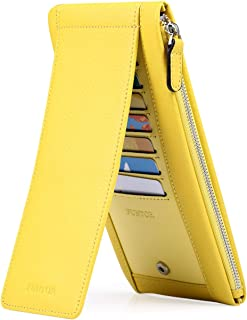 FUNTOR Genuine Leather RFID Blocking Wallets for Women Card Phone Holder with Zipper Pocket