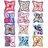 Vbiger 12 Pcs Women Small Square Satin Scarf Mixed Neck Head Scarf Set 19.7 x 19.7 inches…
