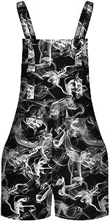 Keaac Womens Distressed Digital Star Denim Adjustable Strap Overall Dress