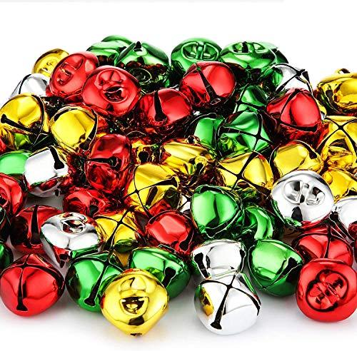 Reofrey Jingle Campanas de Navidad, 120 piezas de coloridas campanas artesanales, campanas pequeñas, campanas de bricolaje para fiestas navideñas, festivales de Navidad, decoración del hogar-4 colores