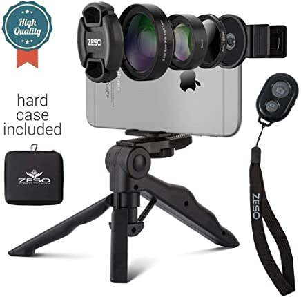 Camera Lens Kit by Coral Entertainments  Professional CPL, Macro & Wide Angle Lenses   Multi-use tripod & Selfie Remote Control   For iPhone, Samsung Galaxy, iPads Tablets   Hard Case & Universal Clip