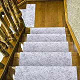 Amazing Tour 15 Pack Carpet Stair Treads Mats Adhesive Pad Non-slip Step Protection Safety Rug Cover Resistant Indoor Runner for Kids Elders and Pets Light Gray