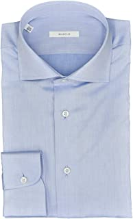 Marcus Camisa de hombre azul celeste polvo sarga cuello francés
