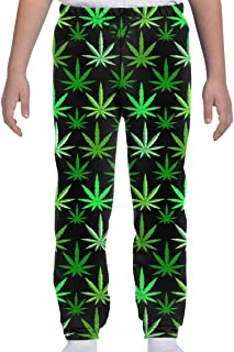 Yesbnow Adolescentes Niños Niñas Pantalones de chándal Pantalones Deportivos Deportivos o Loungewear, Marihuana Green Weed