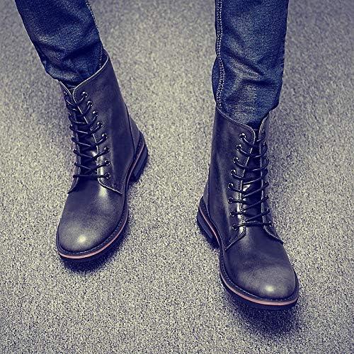 Shukun Bottes pour hommes Bottes de Cow-Boy décontractées de Martin bottes pour Hommes Bottes de Cow-Boy décontractées de Martin pour Hommes, Coton Chaud