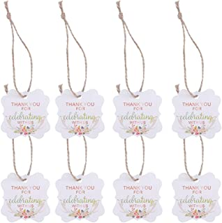 Amosfun 50pcs Wedding Favor Gift Tags Thank You Tags Thank You for Celebrating with Us Pattern with Hemp Rope for Wedding Party Favor (Antler Printing)