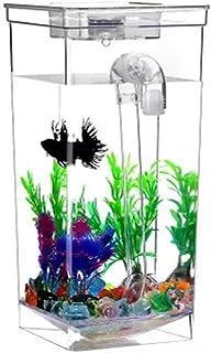 Jiangu - pecera pequeña de autolimpieza, acuario, pecera de escritorio, acuario mini acuario