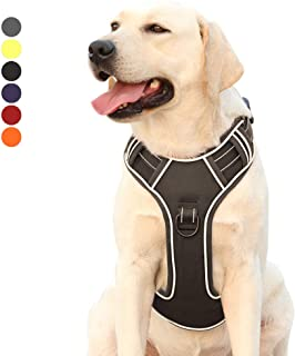 EAVSOW Dog Harness No-Pull Pet Harness Adjustable Outdoor Pet Vest for Small Medium Large Dogs Reflective Oxford Material Vest for Dogs No-Choke Easy Control