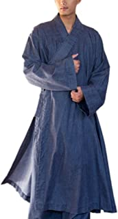 Blue Men's Long Gown Traditional Buddhist Meditation Robe S-2xl