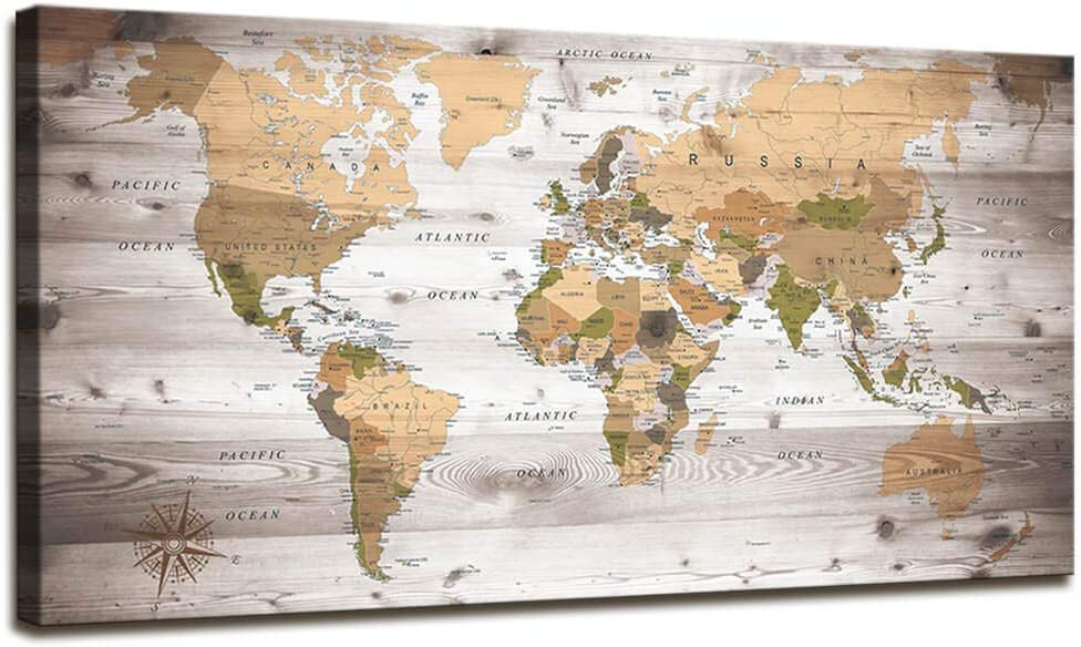 World Map Wall Art for Department trend rank store Grain Wood Vintage Poste Office