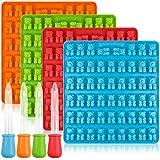 Moules en silicone pour friandises en forme d'ourson (bonbons, chocolats, gateaux, gelée, glace) - Lot de 4moules -53oursons par moule - AIFUDA
