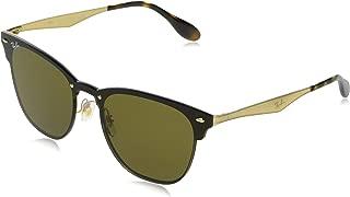 RB3576N Blaze Clubmaster Square Metal Sunglasses, Brushed Gold/Dark Brown, 47 mm