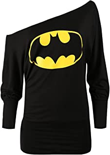 Oops Outlet Women's Superman Batman Comic Hero Batwing Off Shoulder Slouch Top Plus Size (US 16/18) Black