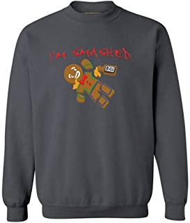 Awkwardstyles I'm Smashed Christmas Sweater Gingerbread Man Sweatshirt