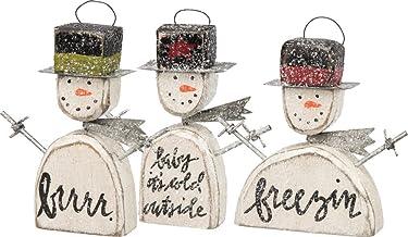 Primitives by Kathy Christmas Block Print Box Sign Shabby Chic Snowmen