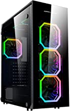 Apevia Trinity-P Mid Tower Gaming Case with 4 x Full-Size Tempered Glass Panels, Top USB3.0/USB2.0/Audio Ports, 6 x Phoenix RGB Fans