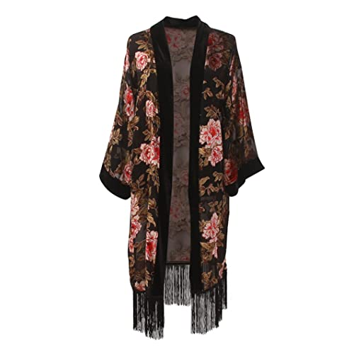 d1a150385cc Women's Long Burnout Velvet Sleeves Kimono Cardigan with Fringe