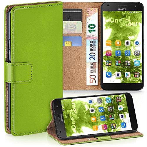 MoEx Premium Book-Case Handytasche passend für Huawei G7   Handyhülle mit Kartenfach und Ständer - 360 Grad Schutz Handy Tasche, Grün