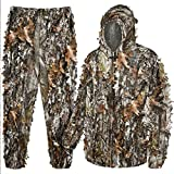 HYOUT Hooded Ghillie Suit Camo Clothing, 3D Leafy Hooded Camouflage Clothing, Woodland Camouflage Suits for Jungle Hunting, Shooting, Airsoft, Wildlife Photography