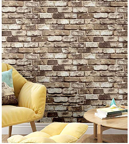 Blooming Wall: Faux Rustic Tuscan Brick Wall Pattern Wallpaper Roll for Livingroom Bedroom, 20.8 In32.8 Ft=57 Sq.ft