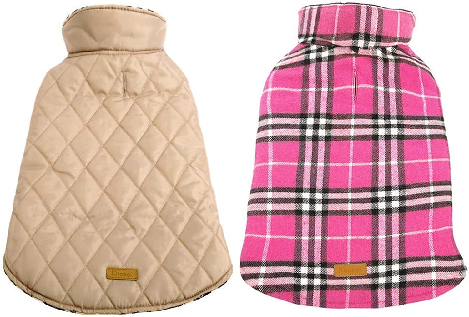 Kuoser Dog Coats Dog Jackets Waterproof Coats for Dogs Windproof Cold Weather Coats Small Medium Large Dog Clothes Reversible British Style Plaid Dog Sweaters Pets Apparel Winter Vest for Dog Pink M