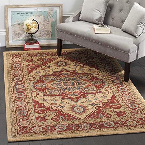 Safavieh Persischer Traditioneller Teppich, MAH698, Gewebter Polypropylen, Rot / Natürlich, 120 x 180 cm