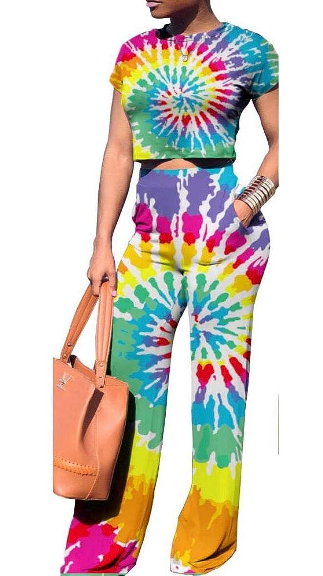 舌手入れフロンティアBeeatree 女性ジャンパーカラフルな半袖作物のトップ高ワイリスパンツの衣装