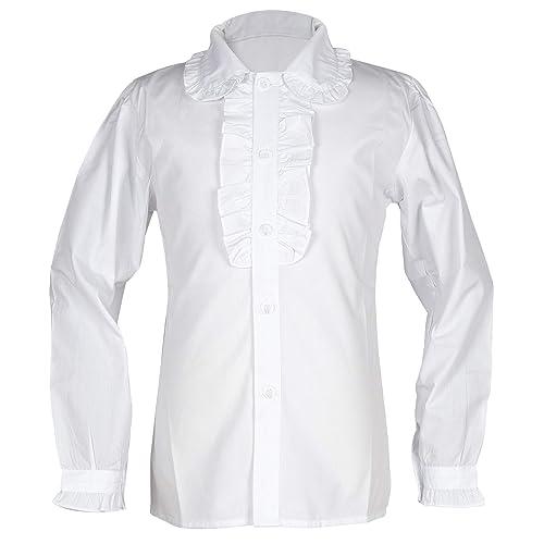 fbd00f8ab Girl's School Uniforms Short Puff Sleeve Blouse Button-Down Shirts with  Ruffle Trim