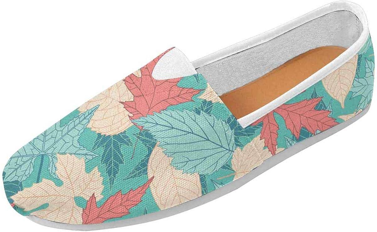 InterestPrint Leaves on Blue Background Classics Women's Slip On Loafer Shoes